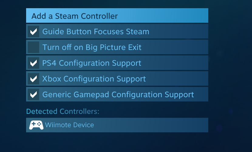 Steam Controller Configurator adding generic support for wiimote