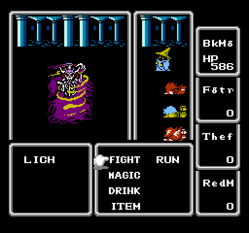 Final Fantasy I battle screen w/