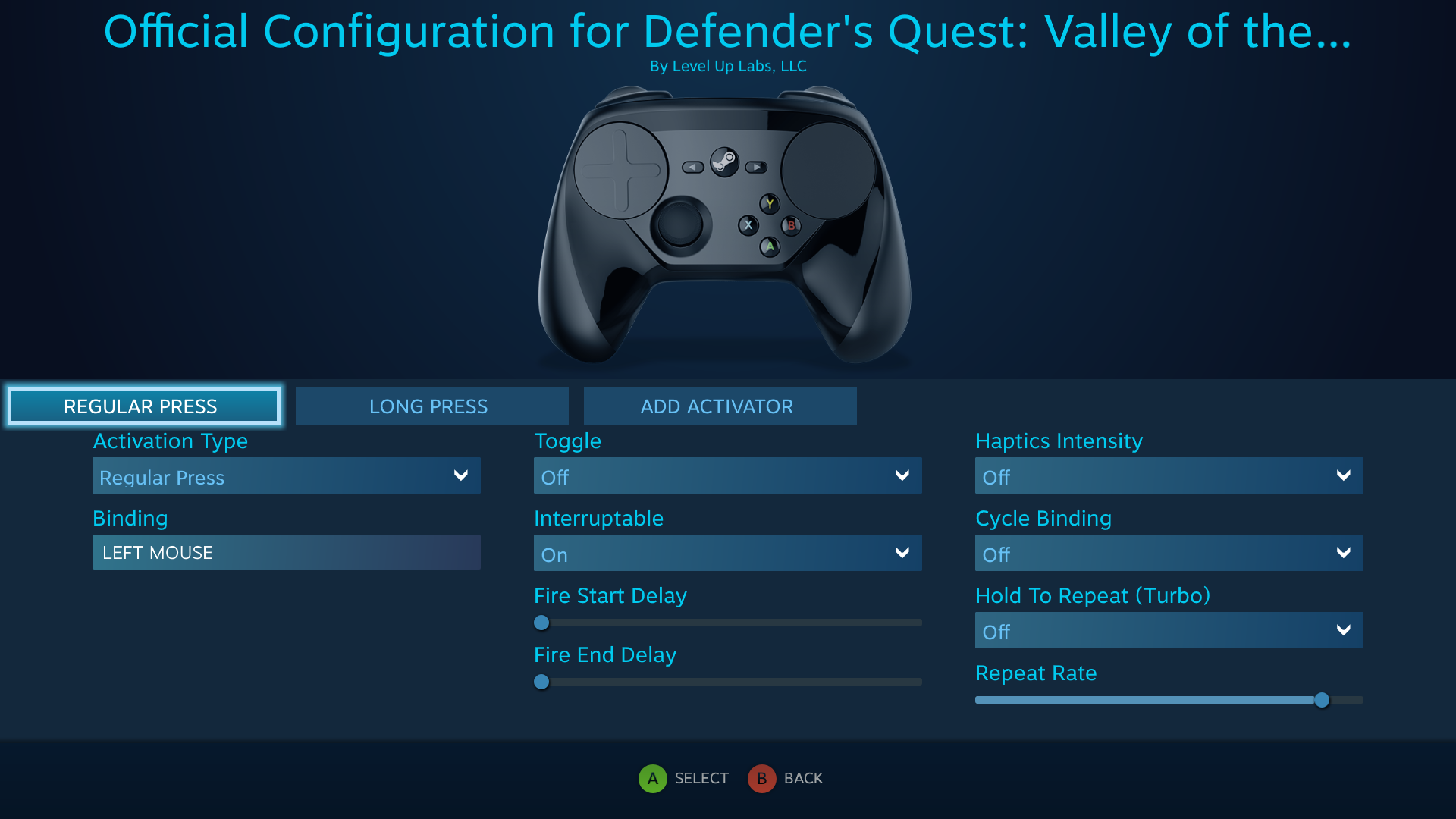 Defender's Quest Steam Controller Configuration Screen -- Battle Actions, LEFT MOUSE binding