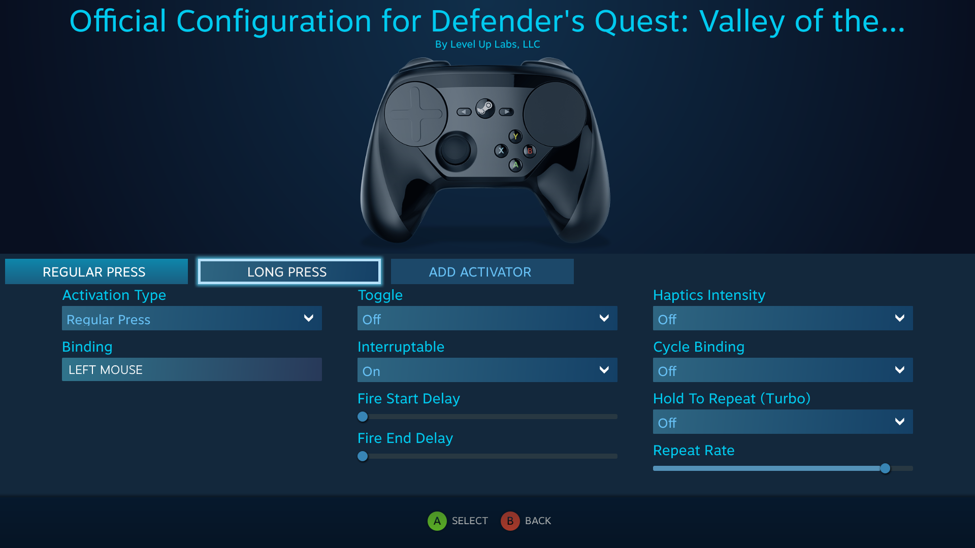 Defender's Quest Steam Controller Configuration Screen -- Battle Actions, Spell Repeat binding