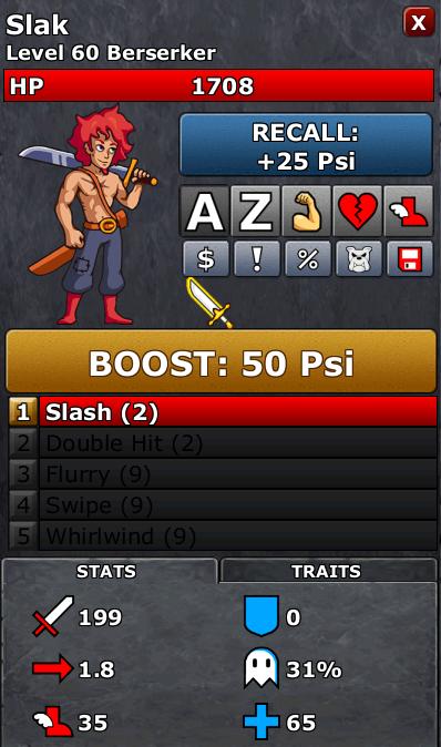 Battle Screen showing