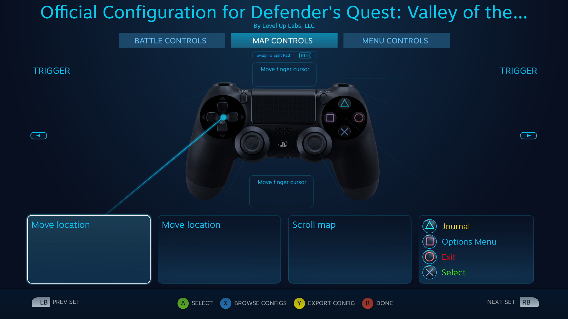 Defender's Quest DS4 Configuration screen -- Map actions