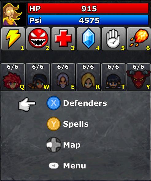 Battle Screen showing gamepad-only navigation menus