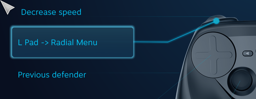 Defender's Quest Steam Controller Configuration Screen -- L Pad -> Radial Menu