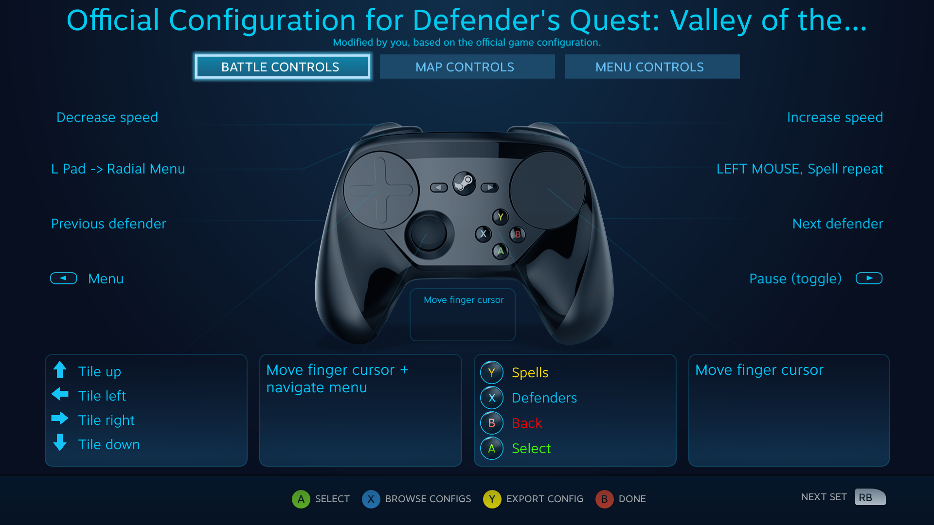 Defender's Quest Steam Controller Configuration screen -- Battle Actions