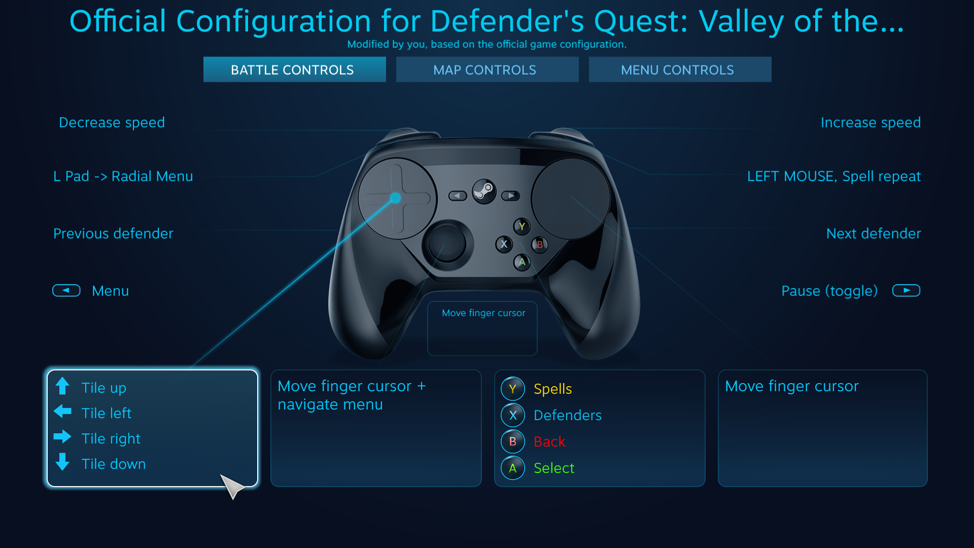 Defender's Quest Steam Controller Configuration Screen -- L Pad