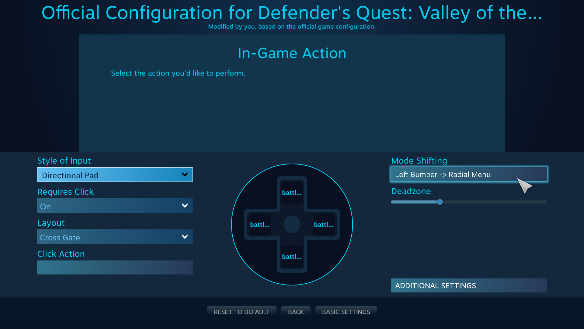 Defender's Quest Steam Controller Configuration Screen -- L Pad Mode Shift