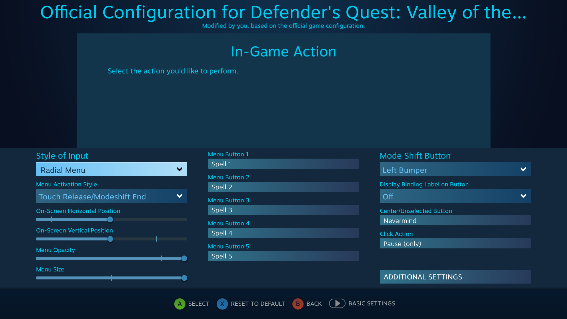 Defender's Quest Steam Controller Configuration Screen -- L Pad Mode Shift Radial Menu
