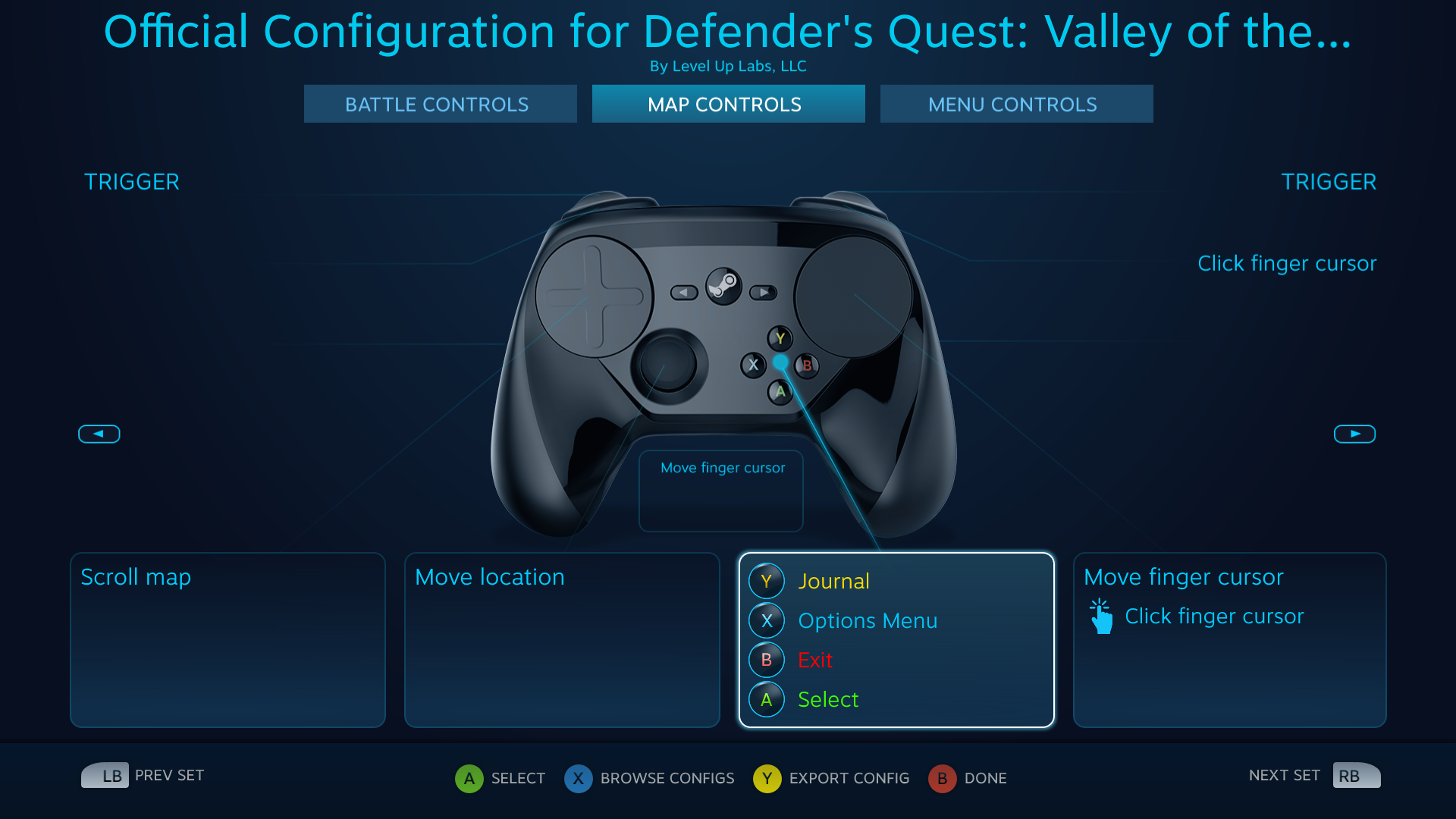 Defender's Quest Steam Controller Configuration screen -- Map actions