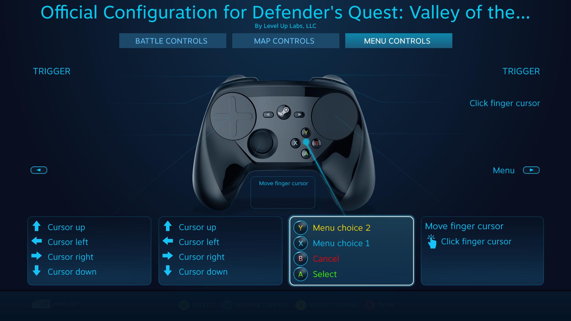 Defender's Quest Steam Controller Configuration screen - Menu actions