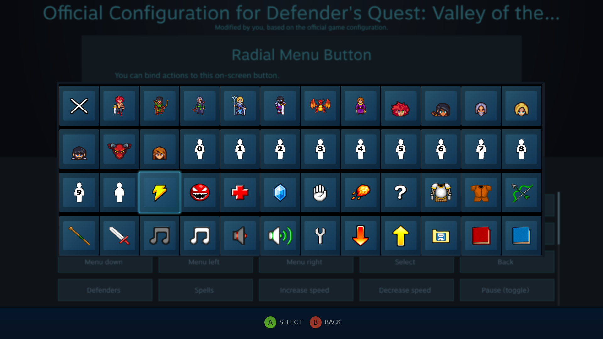Defender's Quest Steam Controller Configuration Screen -- Selecting a custom icon for a radial menu