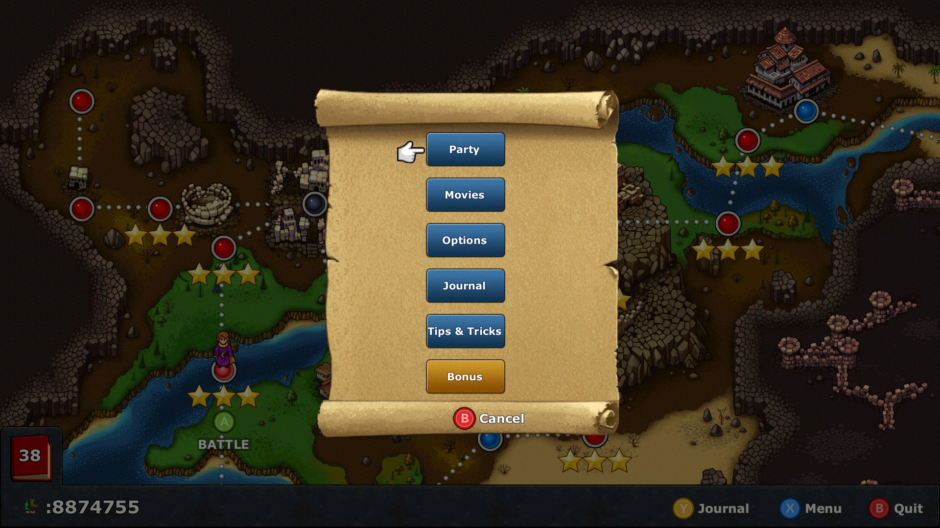 Overworld w/ Gamepad -- Modal menu