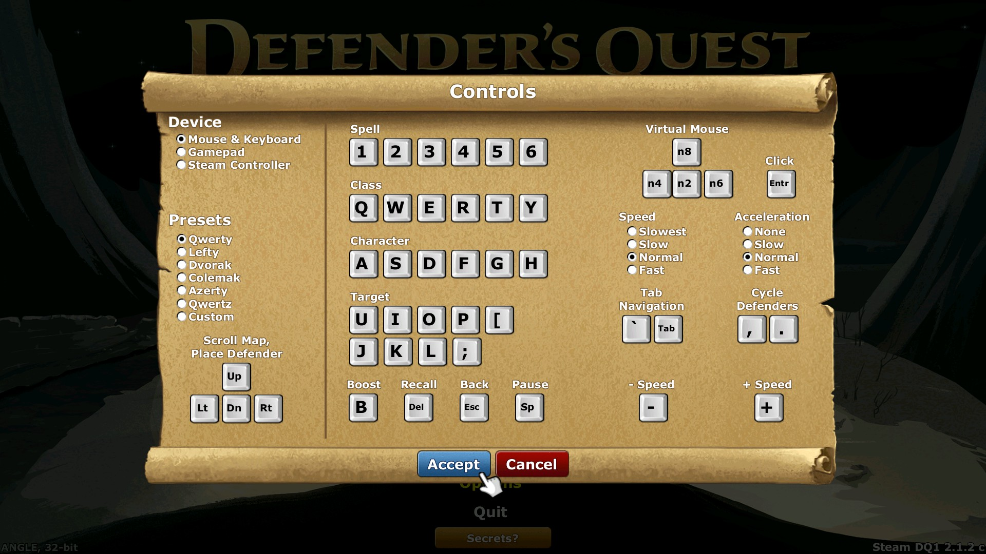 Keyboard & Mouse controls configuration screen