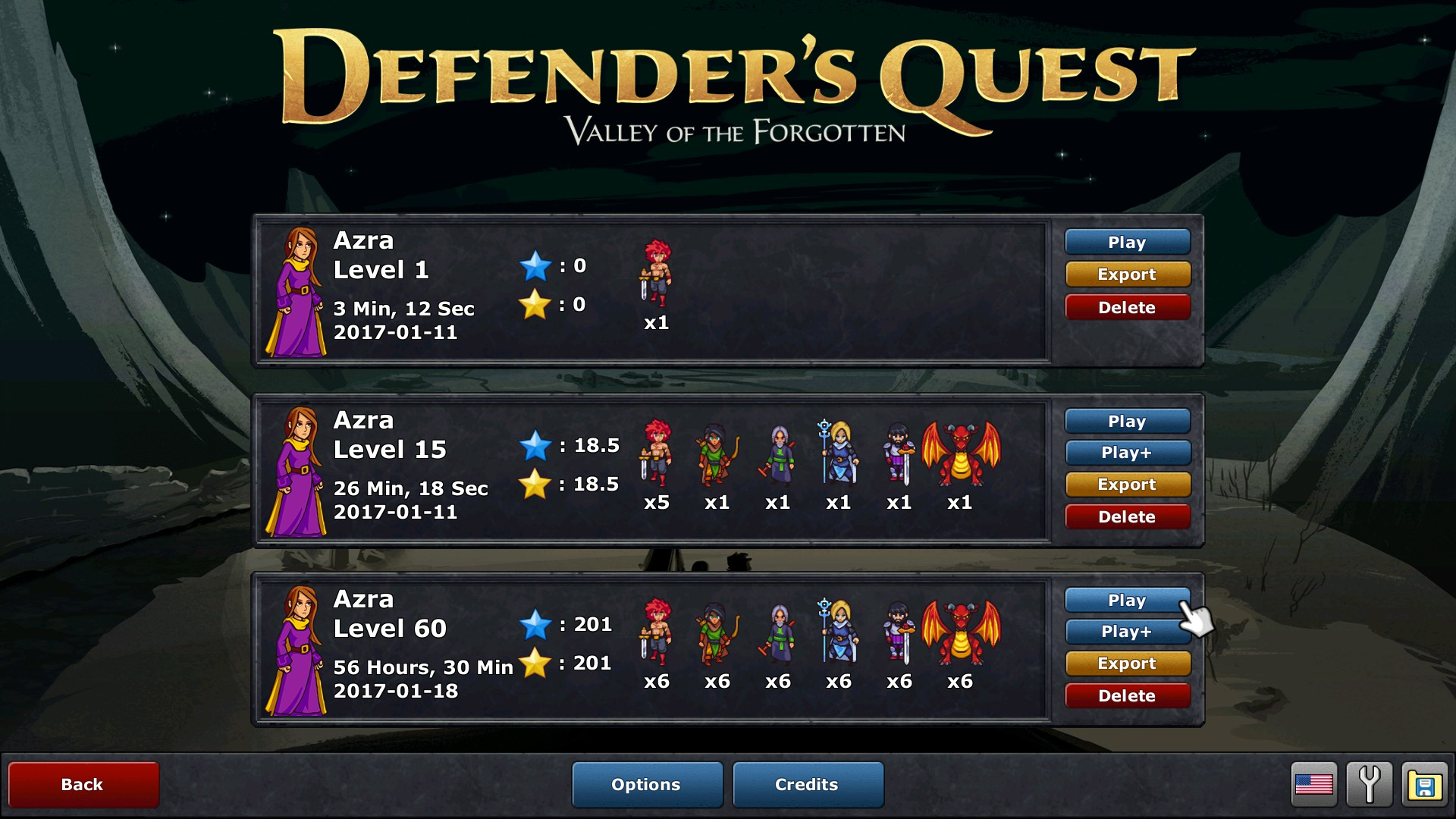 Defender's Quest Save Slot screen w/ Keyboard+Mouse