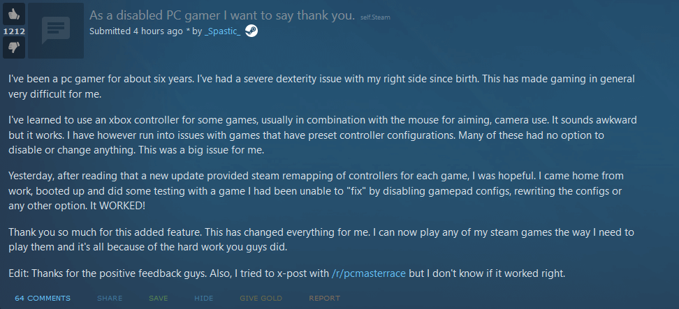 Reddit post: As a disabled PC gamer I want to say thank you.""